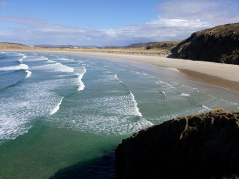 Tramore beach ( big beach ) with the acua green Atlantic ocean... #lovedonegal #happyhikingdonegal  #walkingdonegal