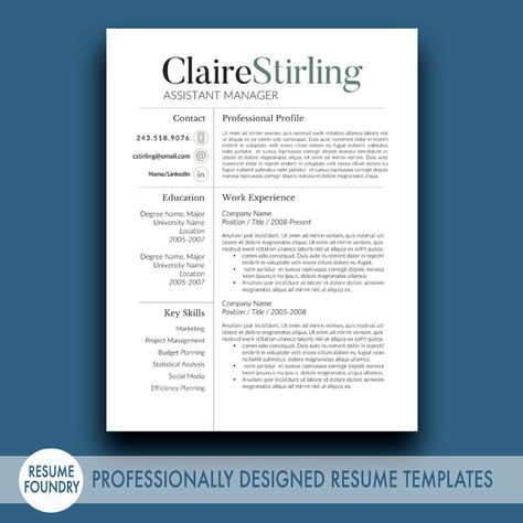 Resume Template and Cover Letter Template for Word DIY Printable - header for resume