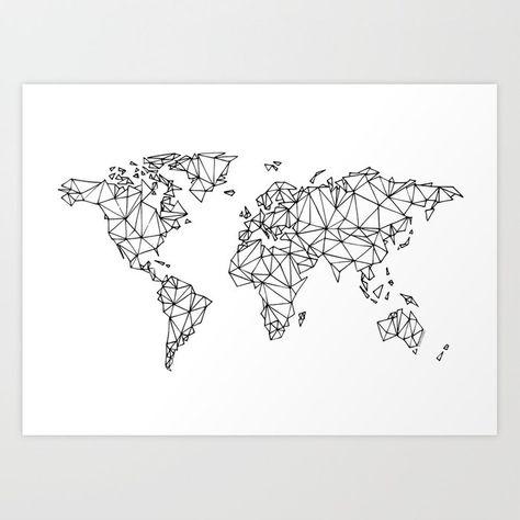 World Map White Art Print Art Carte Peinture Murale