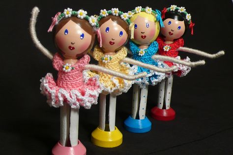 Dance of the Daisies - Ballerina Clothespin Dolls by creatingtreasures, via Flickr