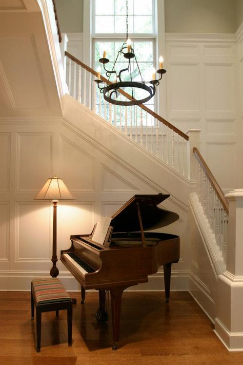 i need a place to put the piano that's NOT the living room corner Piano Stairs, Piano Room Decor, Home Interior Design, Interior Architecture, Piano Living Rooms, Grand Piano, My Dream Home, Home And Living, Decoration