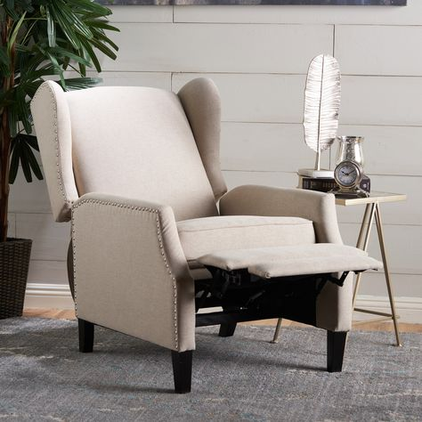 Westeros Traditional Wingback Fabric Recliner Chair Recliner