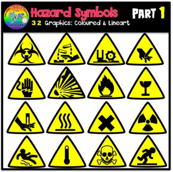 You 39 Ll Be Getting 32 Graphics 16 Coloured And 16 Lineart Of The Following Hazard Symbols Flammable Materials Sign Or S Hazard Symbols Symbols Toxic Sign