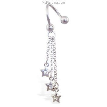 MsPiercing Nipple Ring With Dangling Jeweled Chain 12 Ga Or 14 Ga