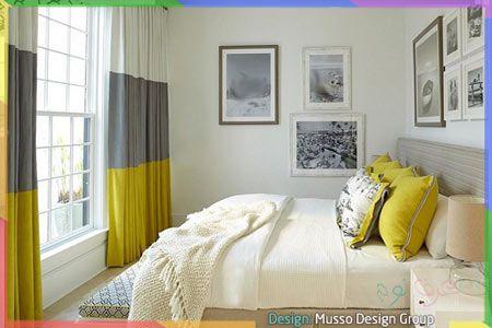 غرفة نوم أنيقة رمادية وصفراء Yellow Gray Bedroom Curtains Bedroom Blue Bedroom