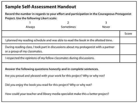 Sample Self-Assessment Handout Resources for Working with ELLs - likert scale template