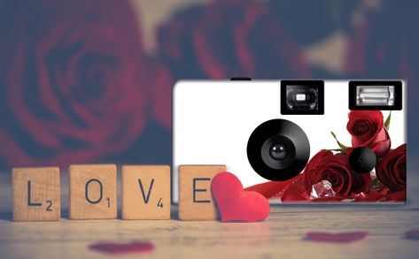 Roses 'n' Diamonds custom disposable cameras. Can be PERSONALIZED. This listing is for 10 cameras and 10 generic tent cards.  24 exposure, Fuji high speed, 35mm color film, disposable camera. Built in one-touch power flash, new battery. May contain recycled plastic parts.    #camera #weddingcamera #disposablecamera #hearts #silverhearts #single use #35mm #film #weddingfavor #pictures #personalized #Etsy