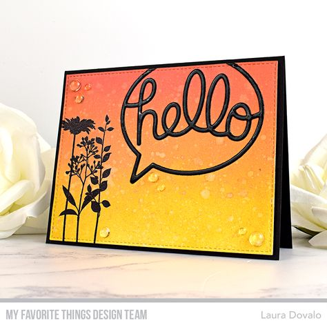 Stamps: Flower SilhouetteDie-namics: Say Hello, A2 Stitched Rectangle STAX Set 1Laura Dovalo#mftstamps