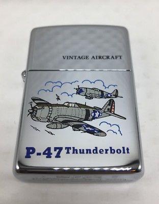 1993 Ix Zippo Lighter P 47 Thunderbolt Vintage Military Aircraft Mint Unfired Nr P 47 Thunderbolt Lighter Chrome Zippo