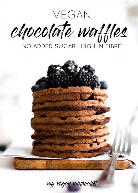 If you ever thought waffles are reserved for special days only, think again. I'm here to bring you the crunchiest, most satisfying vegan chocolate waffles you've ever tasted. The kind that make the whole world around you stop once you bite into their sweet and fluffy inside. #veganwaffles #veganbreakfast #wafflerecipes #veganwaffle #chocolatewaffle