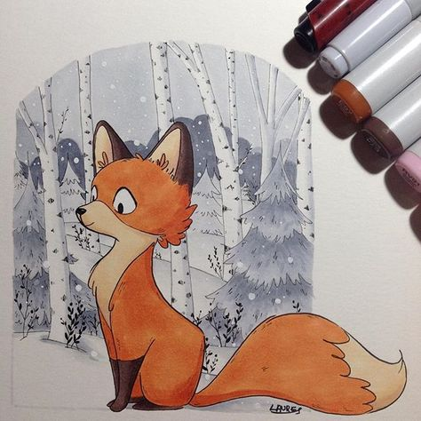 Little fox. I wanted to try a new paper with copic markers. These character is for a story I create for my little homeschooler who is learning to read. For this one I used : - HB pencil - copic markers : E97, E74 and E77, E30, RV91, C00 to C5. - kuretake pen n. 14 - sakura micron 005 - white uniball signo - paper : canson illustration 250 mg/m2 I wanted to share this, as I'm curious too about what other artists are using for their drawings. #copic #illustration #forest #fox #snow #redfox #n...