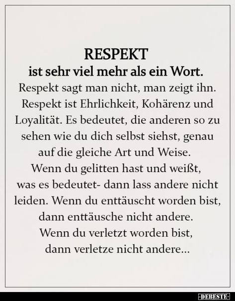 RESPEKT ist sehr viel mehr als ein Wort...