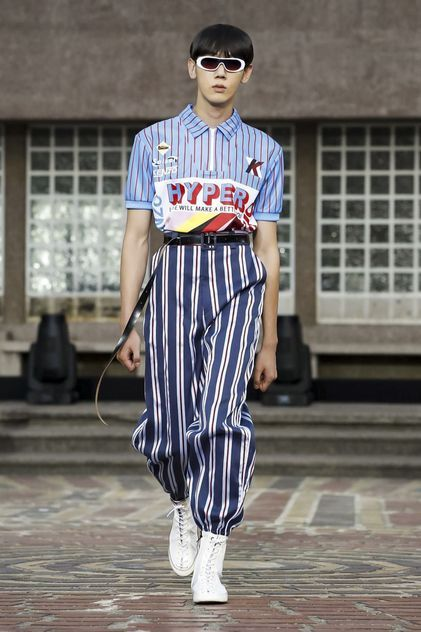 Kenzo Menswear Spring Summer 2018 Paris - striped pants and shirts of varying thickness #colorful #print #pattern #stripe #textile #textiledesign #mensfashion #menswear #graphic