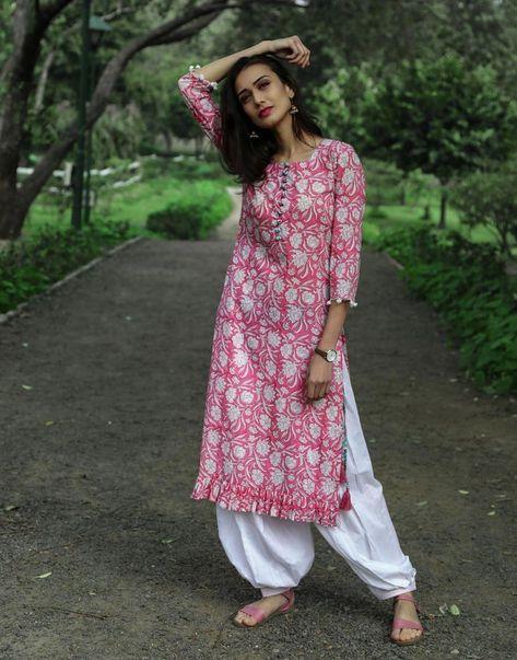 Floral Print Pink Kurta with white Salwar Set.   #cotton #blockprint #everydaywear #workwear #goodearth #workclotheswomenindian