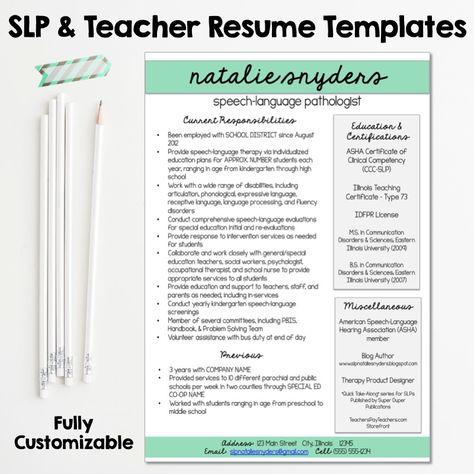 111 best SLP Grad school images on Pinterest School - slp resume examples