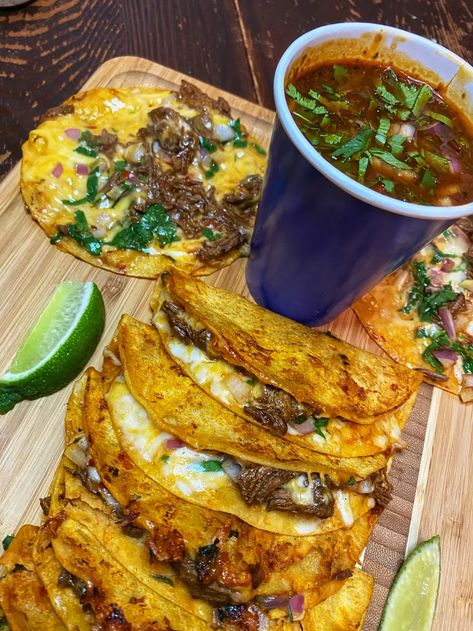 mexican food recipes Birria Style Tacos With Comsome Authentic Mexican Recipes, Mexican Food Recipes, Mexican Desserts, Mexican Birria Recipe, Latin Food Recipes, Mexican Breakfast Recipes, Mexican Cooking, Salads, Gastronomia