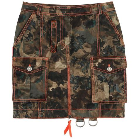 View this item and discover similar skirts for sale at - Christian Dior S/S 2001 hidden dark floral camouflage military inspired cotton denim print cargo skirt. Designed by John Galliano.