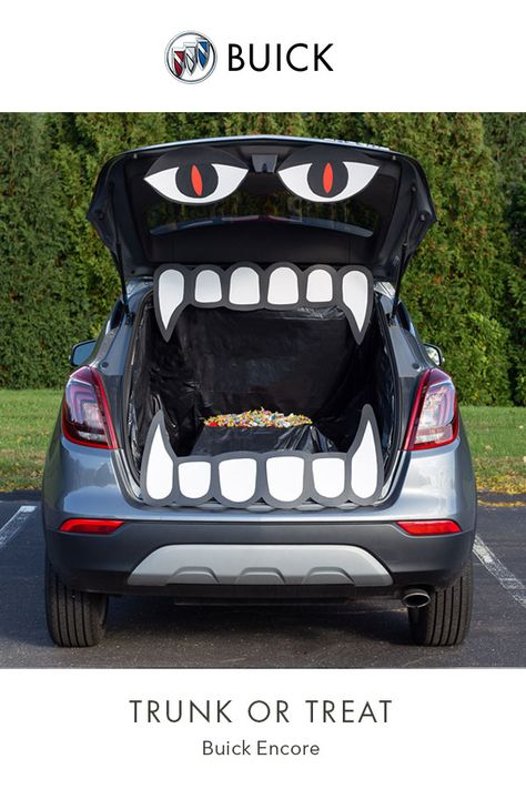 Trunk-or-treat idea from the Buick website. # Gardenia Trunk-or-treat i Halloween Crafts For Kids, Halloween Food For Party, Halloween Birthday, Diy Halloween Decorations, Holidays Halloween, Scary Halloween, Halloween Treats, Halloween Games, Halloween Stuff
