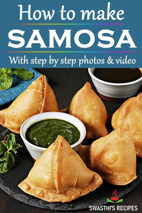 Samosa is a popular Indian street food made with flour potatoes and spices. Learn to make perfect Indian samosas with this recipe - flaky crisp and absolutely delicious. Indian Snacks, Indian Food Recipes, Asian Recipes, Healthy Dinner Recipes, Vegetarian Recipes, Snack Recipes, Cake Recipes, Curry Recipes, Beef Recipes