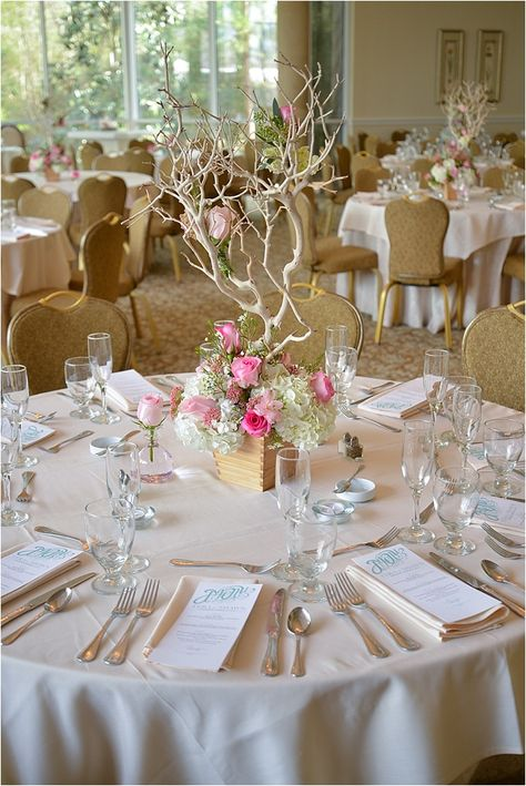 Manzanita Tree Centerpiece ~ Blush Pink Rose and Hydrangea Centerpiece ~ Vintage Wedding Decor Ideas ~ Photo: Evoke Photography ~ Houston Wedding Venue: Ashton Gardens