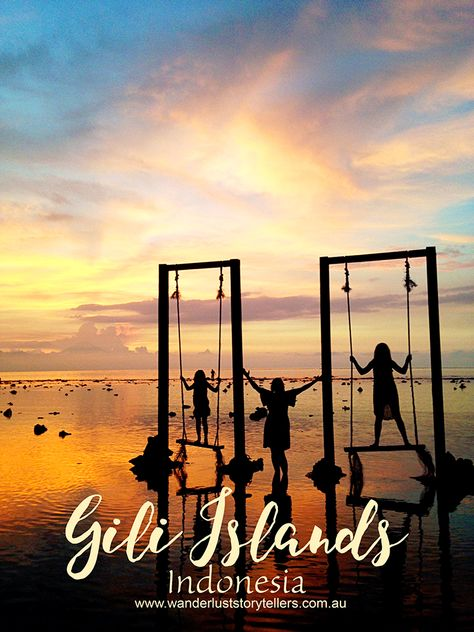 Our complete guide to things to do in the Gili Islands. From the famous Gili Trawagan Swings to Sunset spots, snorkelling and Island hopping.  These Indonesian Islands are a MUST SEE!  Click the picture to read our post!