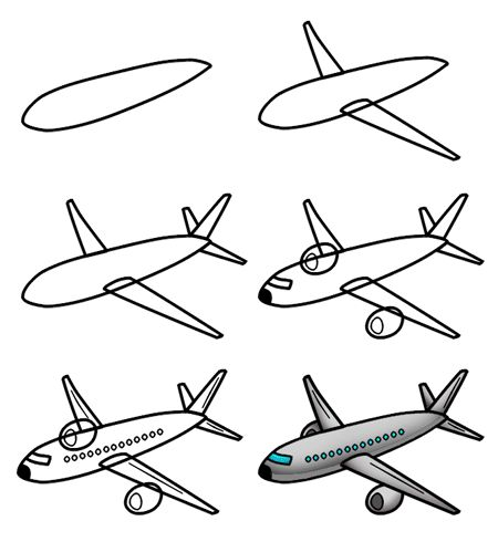 a nice cartoon airplane is the subject of this simple drawing tutorial misc complete drawing tutorials pinterest airplanes simple drawings and