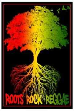 roots rock reggae black light wall poster new design on this velvet flocked black light poster the image of the tree and its roots in red ye