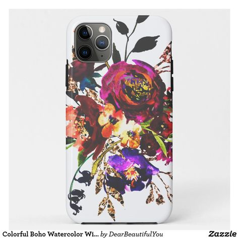 Colorful Boho Watercolor Wildflower Vintage Floral Case-Mate iPhone Case