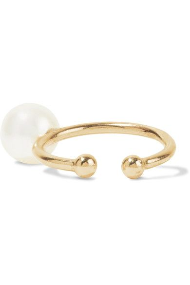 14-karat Gold, Pearl And Diamond Cuff - one size Mizuki
