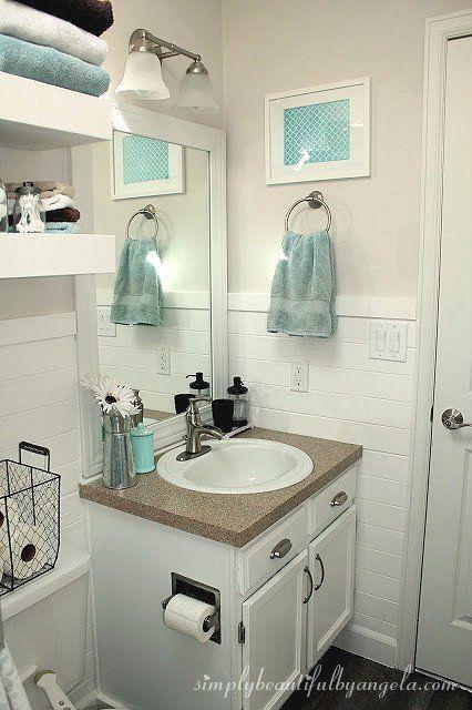 Bathroom Decorating Ideas Apartments Unique Shiplap In The Bathroom In 2020 Bathroom Vanity Decor Bathroom Decor Apartment Bathroom Decor