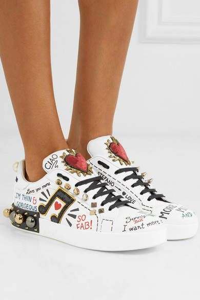 Dolce Gabbana Embellished Printed Leather Sneakers White Mode