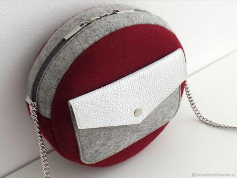 d30d359d4f7e Женские сумки ручной работы. Винная круглая сумка через плечо из фетра и  кожи. Fancyfelt. Ярмарка Мастеров. Серый