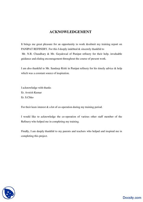 Writing acknowledgements dissertation ACKNOWLEDGEMENTS 9 An - acknowledgement report sample