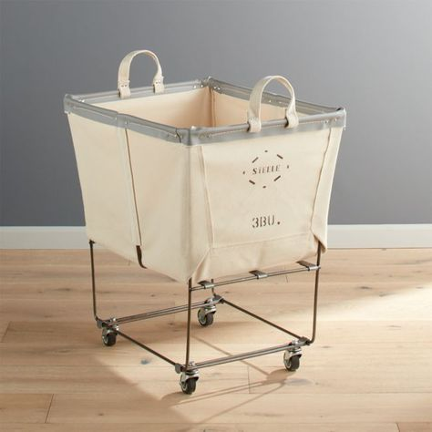 Keep your laundry looking neat and tidy with laundry storage and cleaning solutions from Crate and Barrel. Find laundry baskets, soap, drying racks and more. Laundry Chute, Laundry Bin, Laundry Room Storage, Laundry Room Design, Laundry Baskets, Basement Laundry Area, Canvas Laundry Hamper, Laundry Basket Organization, Laundry Rack