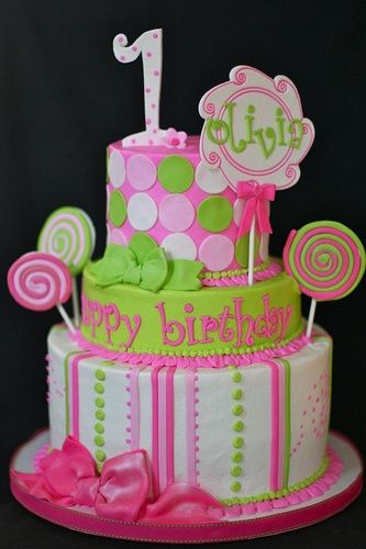 21 best Baby girls 1st birthday cake images on Pinterest