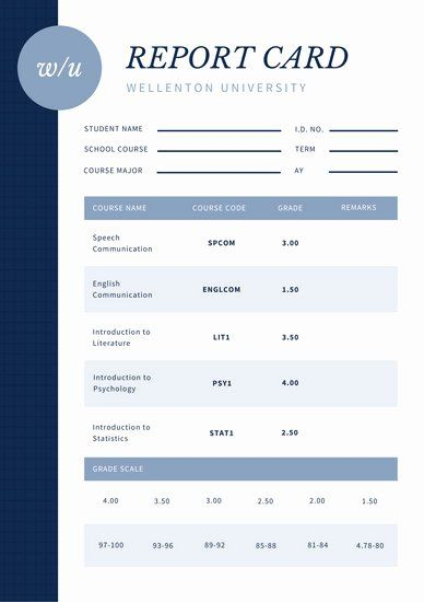 Simple Report Card Template Awesome College Poster Templates Canva Report Card Template Card Template Card Templates
