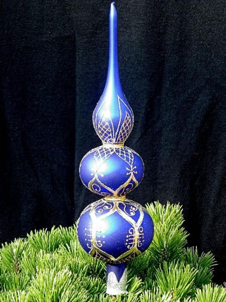 Treetop Bulb with Long Stem Top 26 cm Christmas Tree Topper Ornament Xmas Decorations Fascination Gold Handblown Glass Decor for Winter Holiday Season Displays