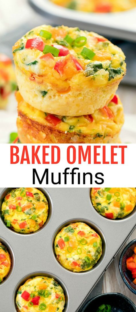 These egg muffins are loaded with omelet ingredi… Baked Breakfast Omelet Muffins. These egg muffins are loaded with omelet ingredients. They are easy to make, portable, and store well for meal prep. Breakfast And Brunch, Breakfast Bake, Breakfast Dishes, Meal Prep For Breakfast, Healthy Breakfast Omelet, Breakfast Ideas With Eggs, Breakfast Casserole Muffins, Breakfast Tortilla, Baked Breakfast Recipes