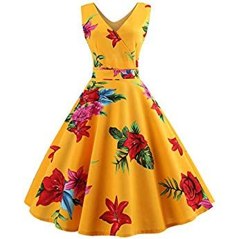3494364fefebe Womens Retro 50s V Neck Floral Print Dresses 1950s Vintage Classy ...