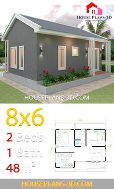 House Design Plans 8x6 With 2 Bedrooms En 2020 Avec Images Plans Petite Maison Moderne Plan Maison 100m2 Petite Maison Moderne