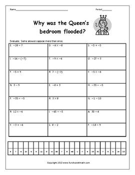 Integer Operations All Operations Riddle Worksheet Integer Operations Integers Subtracting Integers Operation with integers worksheet