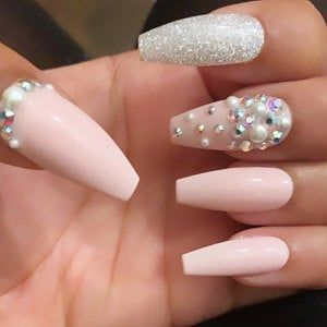 Clear Pixie Dust Mixed With Crystals Press On Nails Any Shape Fake Nails False Nails Glue On Nails Nails In 2020 Glue On Nails Crystal Nails Press On Nails