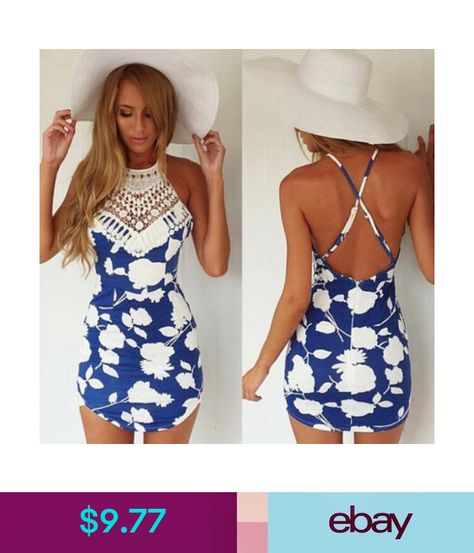 6d23b2cca93  9.77 - Women Floral Printed Cross Bandage Halter Backless Mini Dress Skirt Beach  Summer  ebay  Fashion