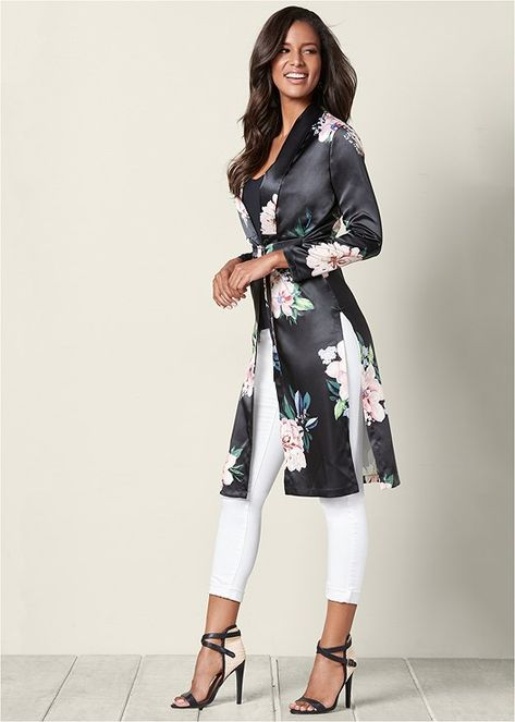 FLORAL LONG JACKET,COLOR SKINNY JEANS,RAFFIA DETAIL HEEL venus clothing