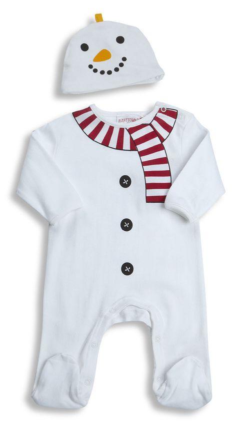 a40584d94 Christmas Baby Boy Girl Sleepsuit   Hat - Snowman or Penguin NB+0-3 ...