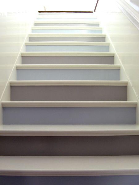 beautiful & soothing way to trudge up the stairs. Alternating blue and beige