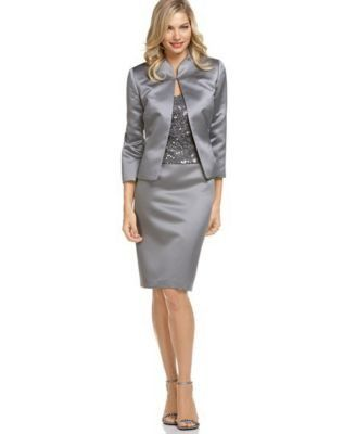 Silver Satin Skirt Suit and Silver Ankle Strap High Heels
