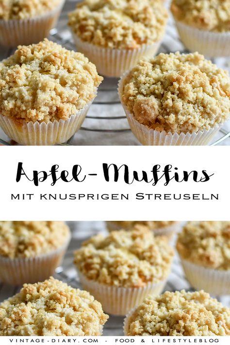 Apfel-Muffins mit knusprigen Streuseln. Schnell zubereitet und super lecker. Ein einfaches Rezept. #muffins #schnellesrezept #backen #apfelmuffins #obstgebäck #schnellemuffins