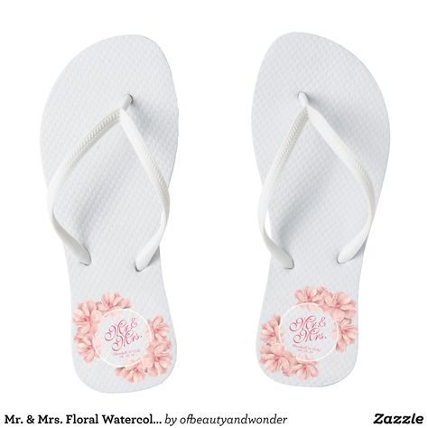0e3ddc7ee Mr.   Mrs. Floral Watercolor Wedding Flip Flops - Durable Thong Style  Hawaiian Beach Sandals By Talented Fashion   Graphic Designers -  sandals   flipflops ...