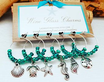 Set of 6 Tropical Wineglass Charms Coastal Charms for Glasses Beach Party Favors